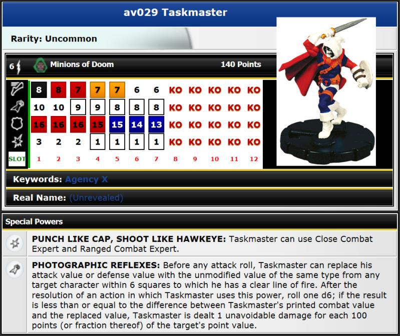 AV029 Taskmaster stats